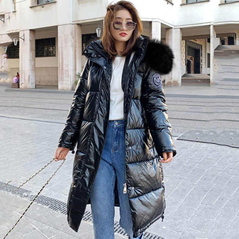Wysokiej jakości 2019 nowa kurtka zimowa kobiety ciepłe zagęścić z kapturem z długi płaszcz z futrem lśniąca tkanina stylowe kobiet Parka