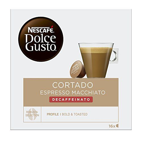 BOX OF NESCAFE DOLCE GUSTO CORTADO DECAF DECAFFEINATED COFFEE PODS image