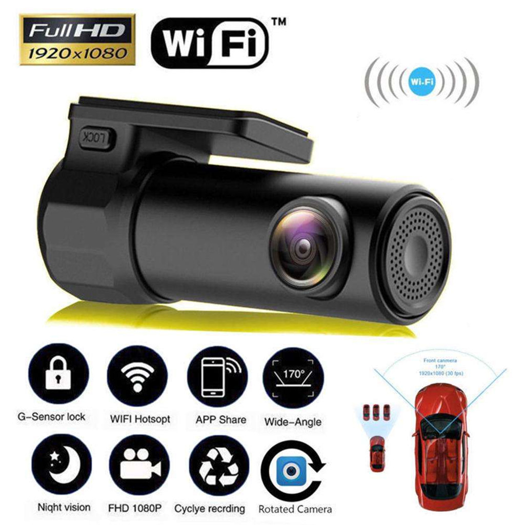 1 Pcs Dash Cam Car DVR Camera Support Android & IOS WIFI Hotspot Wireless Connect 1080P HD 150 Degree FOV APP Control G-sensor image