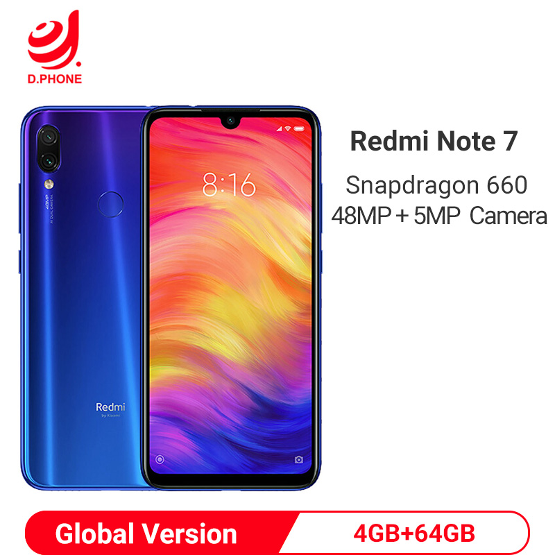 "Global Version Xiaomi Redmi Note 7 4GB 64GB Smartphone Snapdragon 660 Octa Core 4000mAh 6.3"" 48MP Dual Camera Mobile Phone"