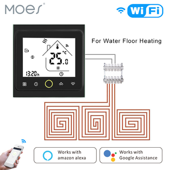 WiFi Thermostat Temperature Controller LCD Touch Screen Backlight for Water floor Heating Works with Alexa Google Home lcd touch screen smart wifi big digital temperature thermostat touch screen warm floor heat controller thermostat