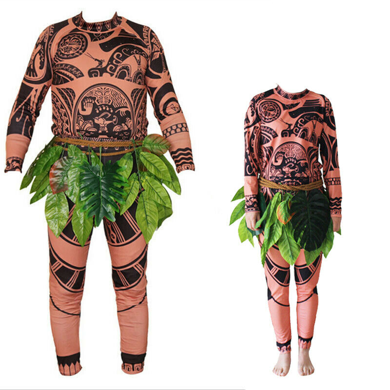 Hot Sale Family Matching 3PCS Moana Maui Tattoo T Shirt+Pants Costume Set Halloween Boys Mens Cosplay Costume Outfit Sets