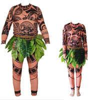 Vendita Calda di Famiglia di Corrispondenza 3 Pcs Moana Maui Tatuaggio T Shirt + Pants Set Costume di Halloween Ragazzi Mens Cosplay Costume vestito Set
