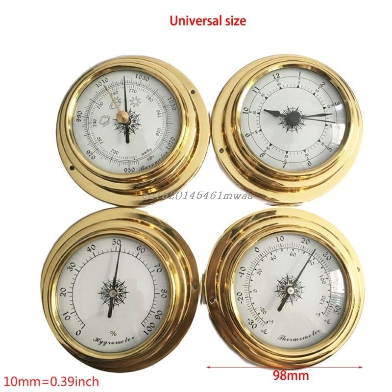 4 polegadas 4 Pçs/set Termômetro Higrômetro Barómetro Relógios Relógio Shell Cobre Zircônio Marinhos para Estação Meteorológica