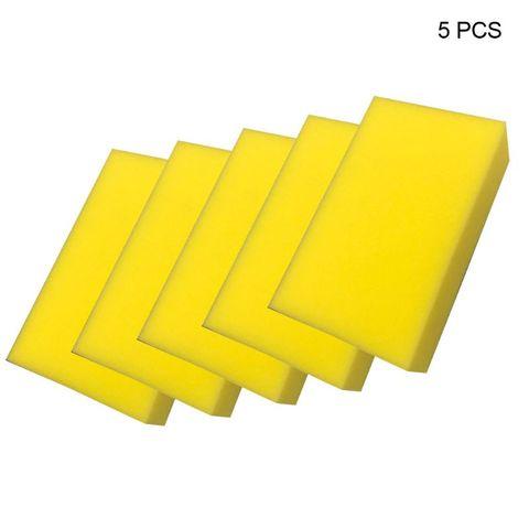 5 pcs amarelo esponja quadrada de cera de lavagem de carro extra macio tamanho grande