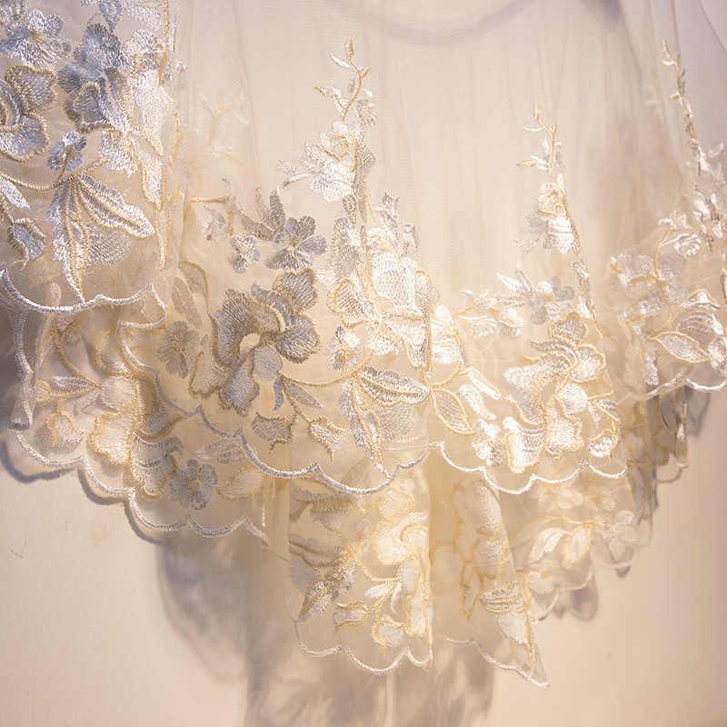 Renda branca Flor do Xaile do Envoltório Bolero Shrug Jaqueta de Casamento para a Noiva Branco Elegante Floral Envoltório Roubou Hi Lo Nupcial Do Cabo xale e Bolero Xale