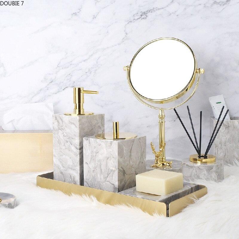 Grey Marble Bathroom Supplies Liquid Soap Dispenser Gargle Cup Toothbrush Holder Soap Dish Bath Accessories Shampoo Dispenser