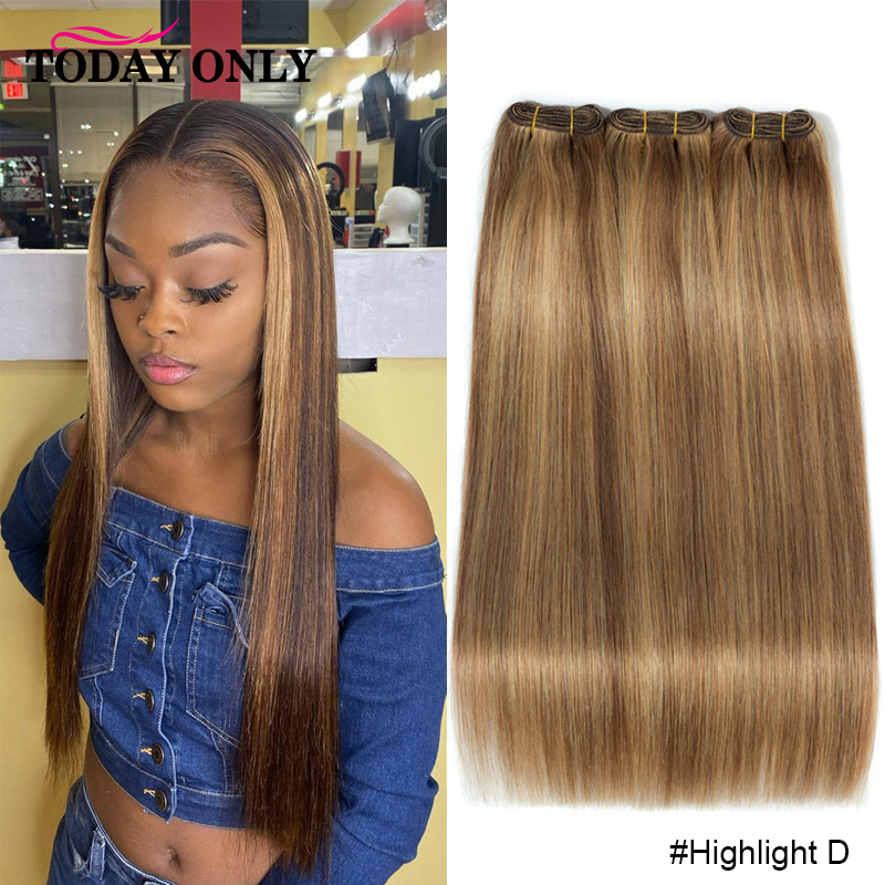 Straight Hair Bundles Ombre Colored Honey Blond Brown Highlight Human Hair Extension 1/3/4 Brazilian Hair Weave Bundles #33 Remy