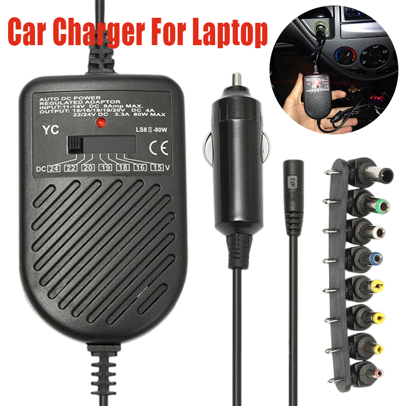 Universal USB Port Auto Car Charger DC Power Supply Adapter With 8 Detachable Plugs For HP ASUS DELL Lenovo Samsung Laptop