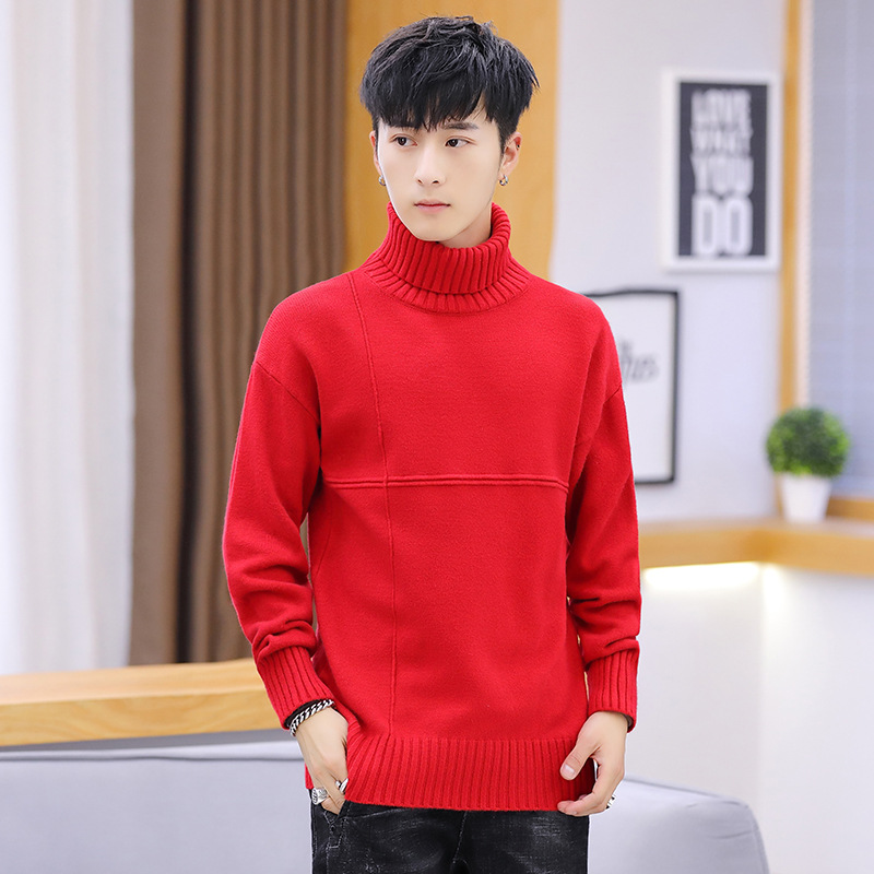 Men Sweater Blue Long Sleeve Winter Casual Turtleneck Pullovers Thick Mens Sweaters White Red Purple Black Royal