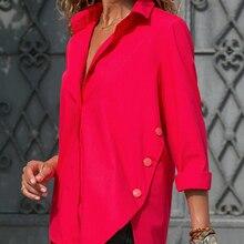 Camisa Irregular de chifón de oficina para mujer, blusa femenina de manga larga negra blanca y roja, camisetas de verano 2020 para mujer, Tops de talla grande 5XL