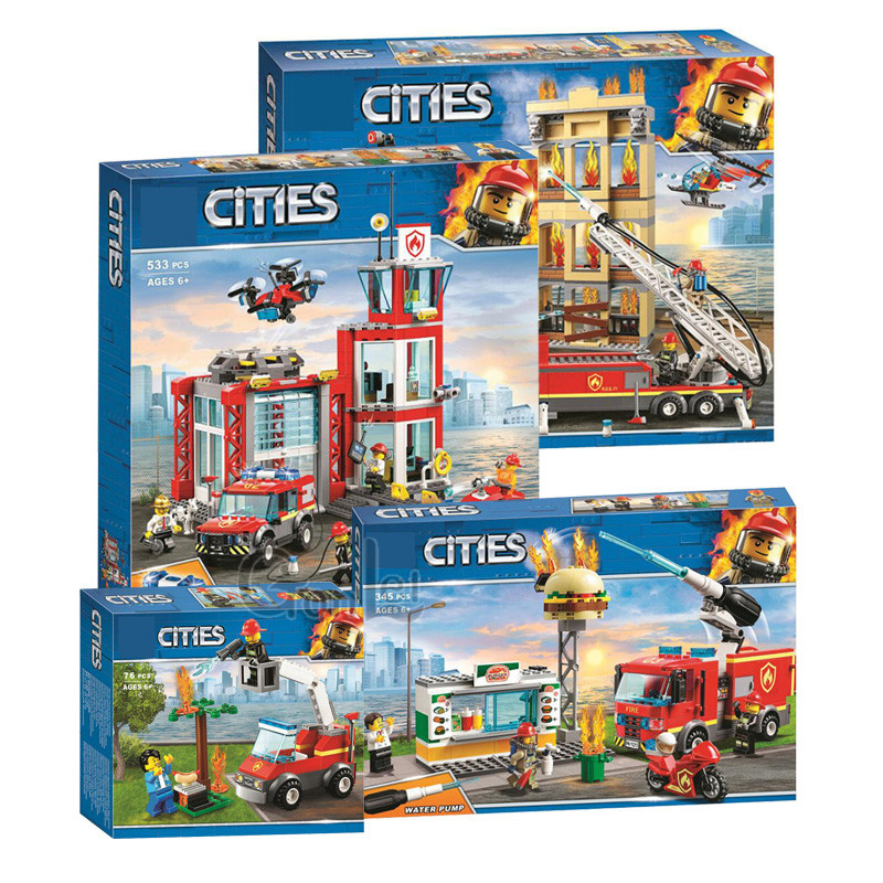 New City Series The Fire Station Model Compatible with Legoinglys Building Block Brick Toy for Children Gift 60216 image
