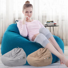 New Large Small Lazy Sofas Cover Chairs without Filler Linen Cloth Lounger Seat Bean Bag Pouf Puff Couch Tatami Living Room(China)