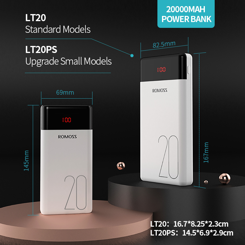 20000mAh ROMOSS LT20 Power Bank Dual USB Powerbank External Battery With LED Display Fast Portable Charger For Xiaomi For iPhone 6
