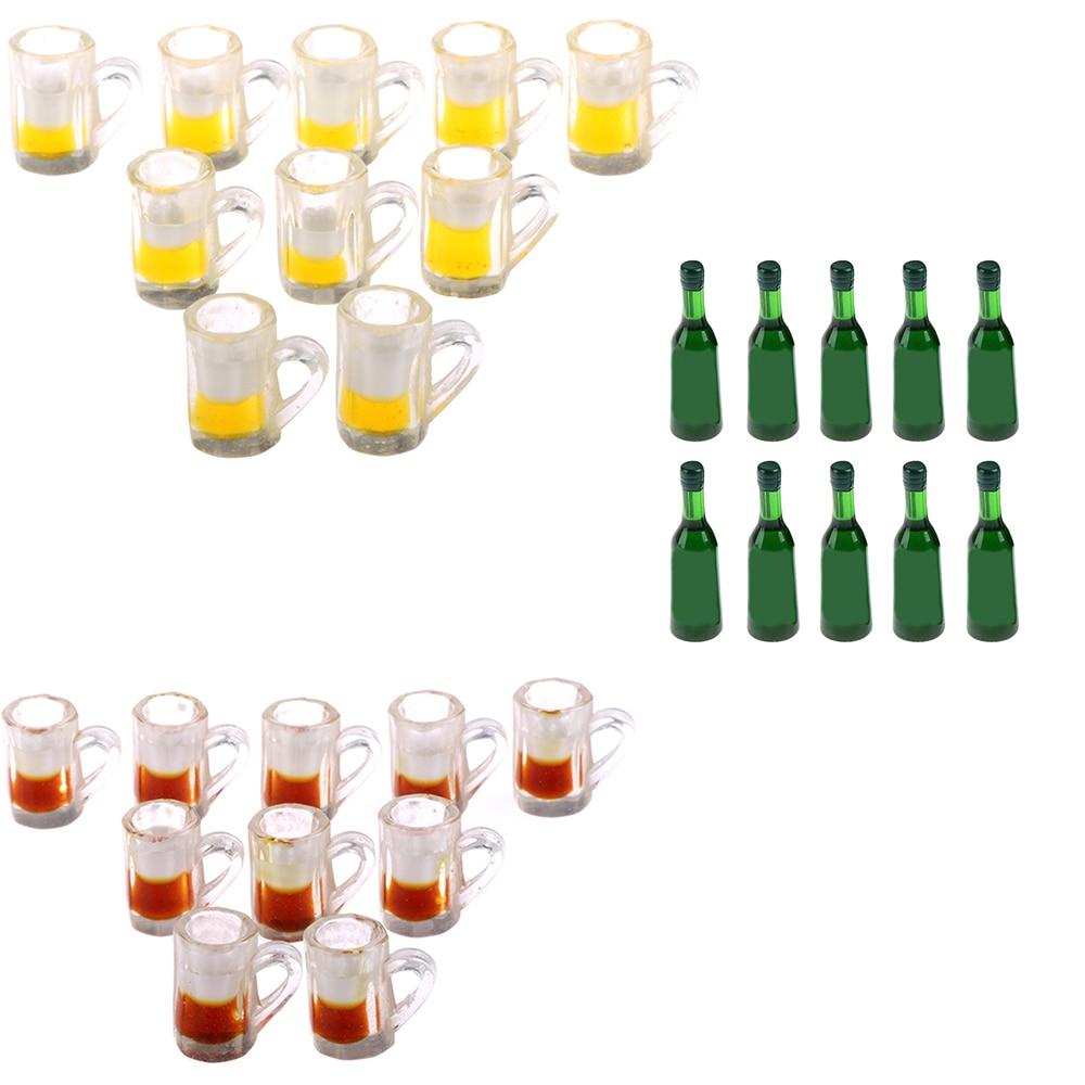 10pcs Beer Cups/Glass Bottles Mini Furniture Model Dolls Accessories Miniatures Dinnerware Dollhouse Summer Must