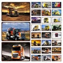 Металлический жестяной знак Желтый большой грузовик Ретро художественный