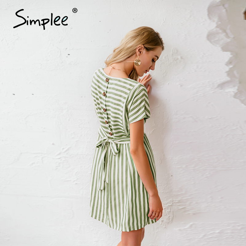 Simplee Striped women dress Casual buttons strap short sleeve summer dress Streetwear ladies o neck a line holiday dress 2020