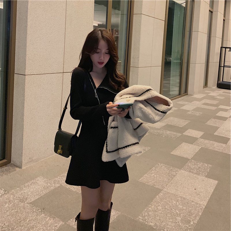Self-Made-Base Black Dress-Trimmed Collar Autumn And Winter Waist Hugging Slimming Short-height Elegant Black And White With Pat