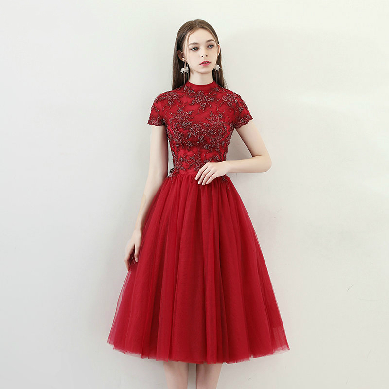 Beads With Embroidery Prom Dresses Cap Sleeve Evening Party Dress Simple Formal Gown Customized Special Occasion Dress