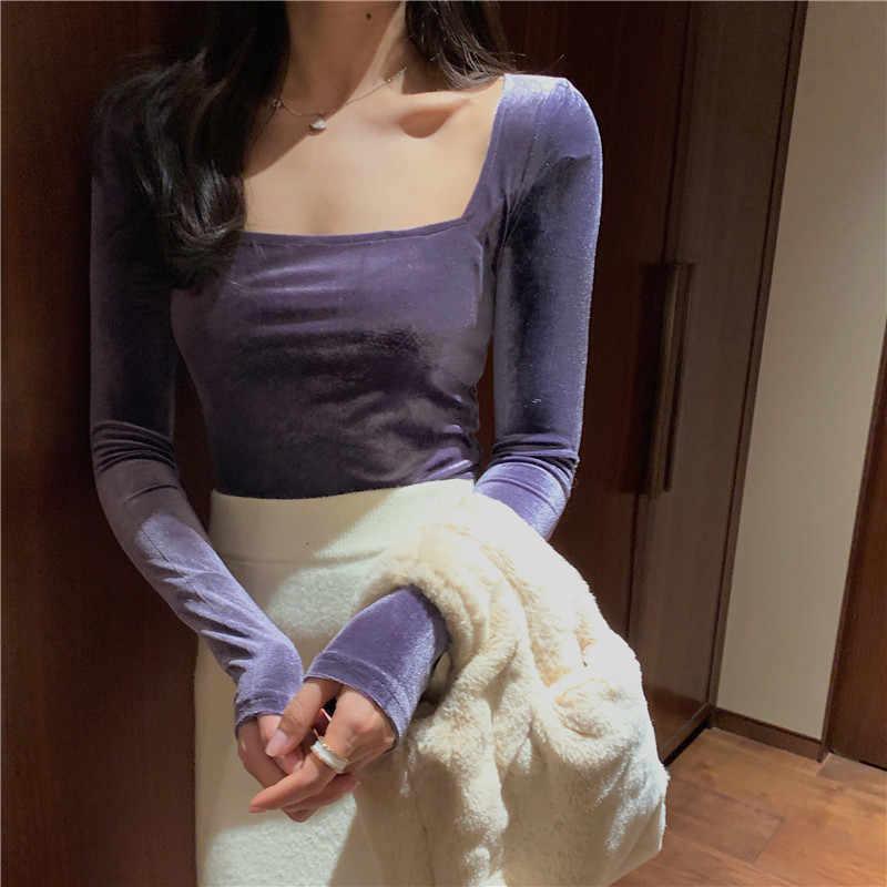 Hi Girl 春とるとき襟長袖 Tシャツスリムベロア基本クロップトップ秋ヴィンテージセクシーなショートトップ Tシャツシャツ女性