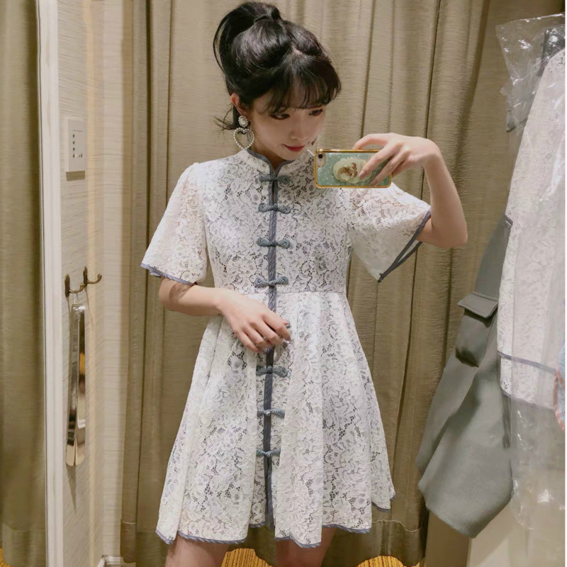 2020 Spring New Korean Style Stand Short Sleeve Lace Vintage Buttonloose Trend Women Summer Dresses Woman Party