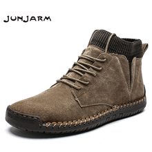 цена JUNJARM Brand Men Snow Boots Winter Plush Warm Men Motorcycle Boots Lace-up Non-slip Male Ankle Boots Waterproof Autumn Man Shoe онлайн в 2017 году