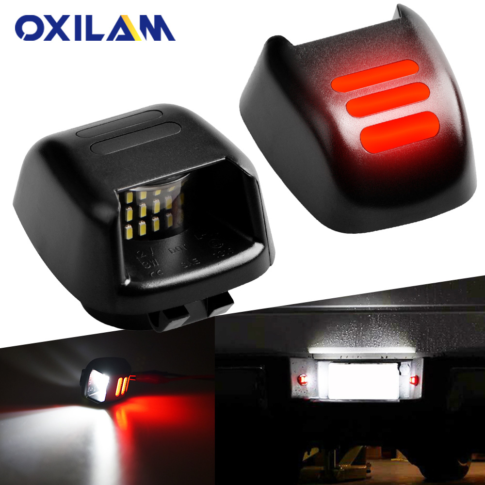 OXILAM White Red 18SMD LED Car Number License Plate Lights For Nissan Navara D40 Frontier Armada Titan Xterra Suzuki Equator
