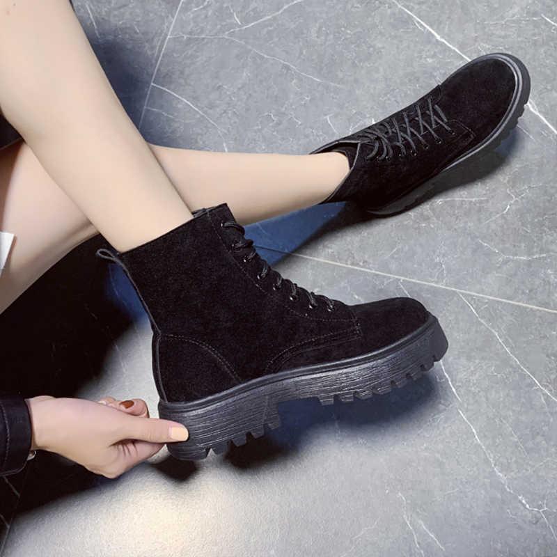 2019 Nieuwe Westerse Laarzen Cowboy Laarzen Vrouwen Lace Up Zwarte Laarzen Mode Enkellaars Schoenen Combat Punk Laarzen Rubber platform