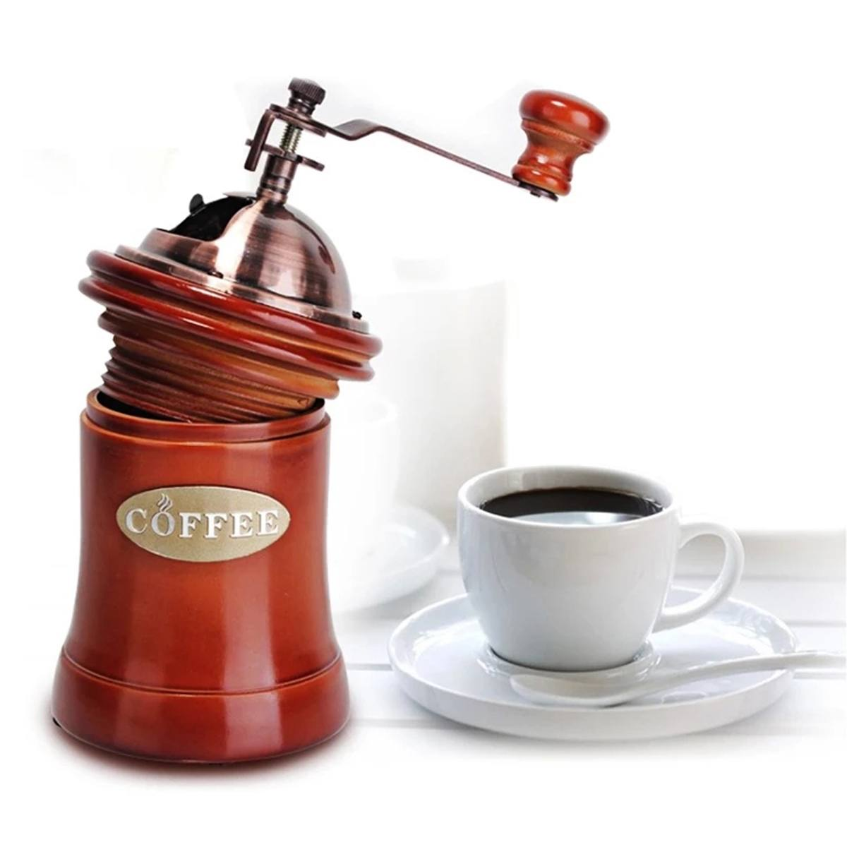 NEW Retro Wooden Manual Coffee Grinder Mini Manual Coffee Mill Beans Nuts Grinder With High-quality Ceramic Grinding Core