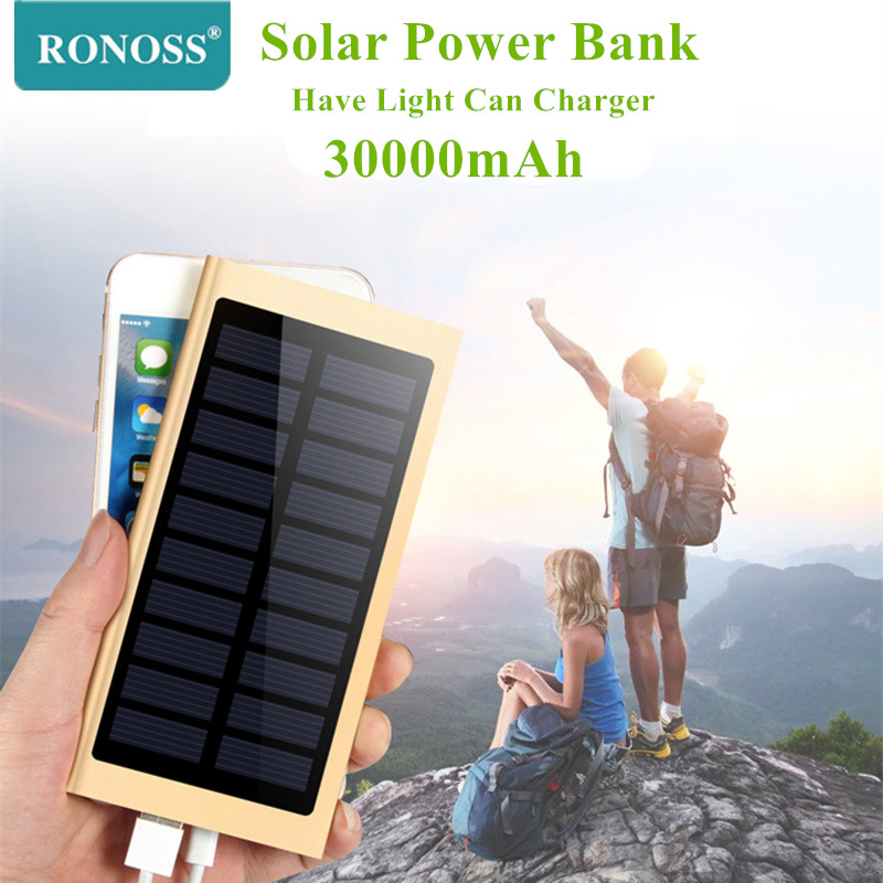 Ultra-thin <font><b>Solar</b></font> <font><b>Power</b></font> <font><b>bank</b></font> <font><b>30000mah</b></font> External Battery 2 USB LED Poverbank Portable Mobile phone <font><b>Solar</b></font> Charger for xiaomi iphone image