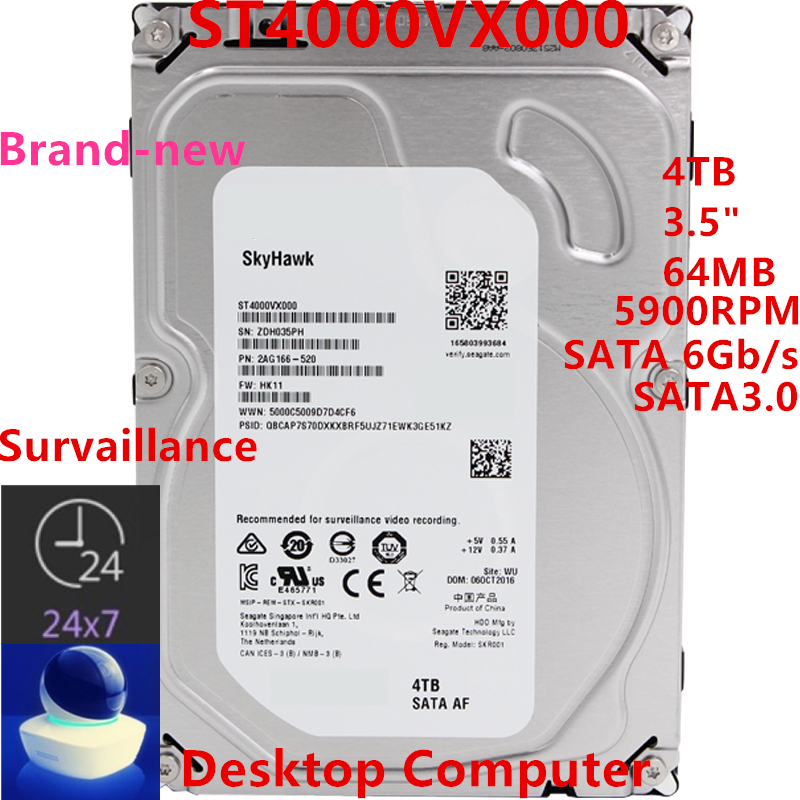 """New HDD For Seagate Brand 4TB 3.5"""" SATA 6 Gb/s 64MB 5900RPM For Internal HDD For Surveillance HDD For ST4000VX000 ST4000VM000 1"""