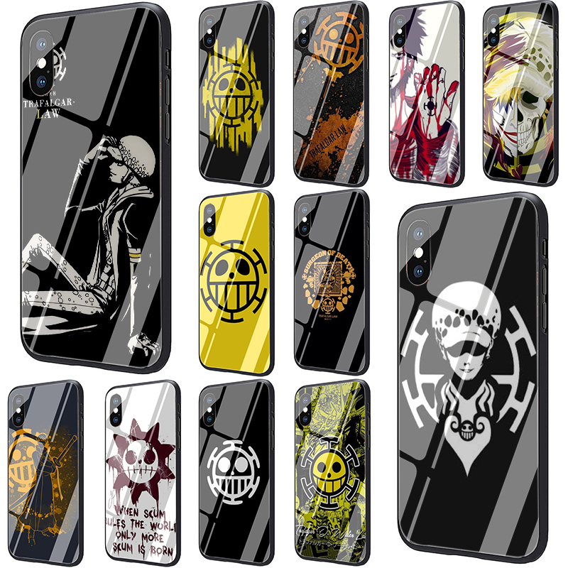 EWAU One Piece Trafalgar Law Logo Tempered Glass Phone Cover Case for iphone SE 2020 5 5s SE 6 6s 7 8 Plus X XR XS 11 Pro Max image