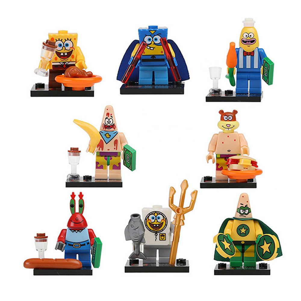 8 قطعة مكعبات بناء ليغو سبونجبوب سكوير باتريك ستار Squidward مخالب الكابتن أرقام عيد الميلاد لعبة للأطفال
