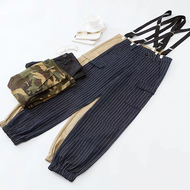 Harajuku BF Style Loose-Fit Versatile Suspender Pants Women's 2018 Autumn New Products Europe And America High-waisted Beam Leg
