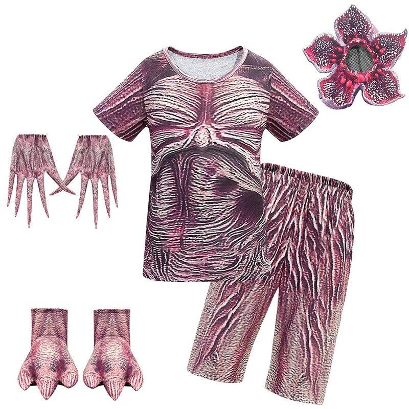 Stranger Things 3 Man-eater Flower Demogorgon Costume Halloween Props Cosplay Kids Summer T-shirt+shorts+accessories Suit