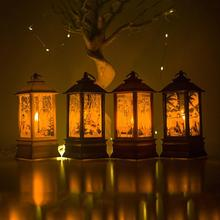 Printed Christmas Portable Wind Lamp Home Garden Decoration Candlestick Hanging Christmas Series Lights