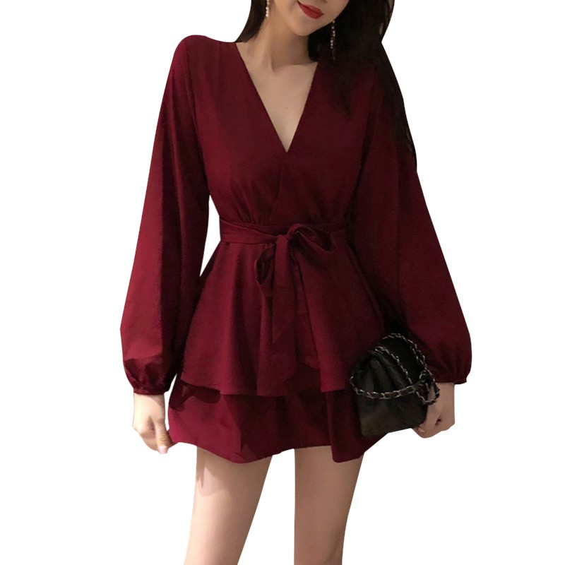 Sexy Women Playsuits Fashion Loose Casual Deep V Long-sleeved High-waist Rompers