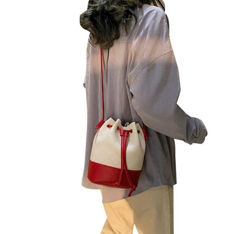 New Arrive Women Shoulder Bags Crossbody Bags Color Block Drawstring Bucket Bags Purse Leather Handbags