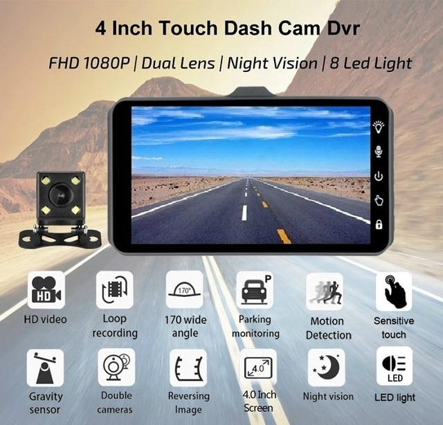"jltart Dash cam Dual Lens car DVR Full HD 1080P4""Touch Screen IPS With Backup Rear Camera Registrator Night Vision Video Recorde 2"
