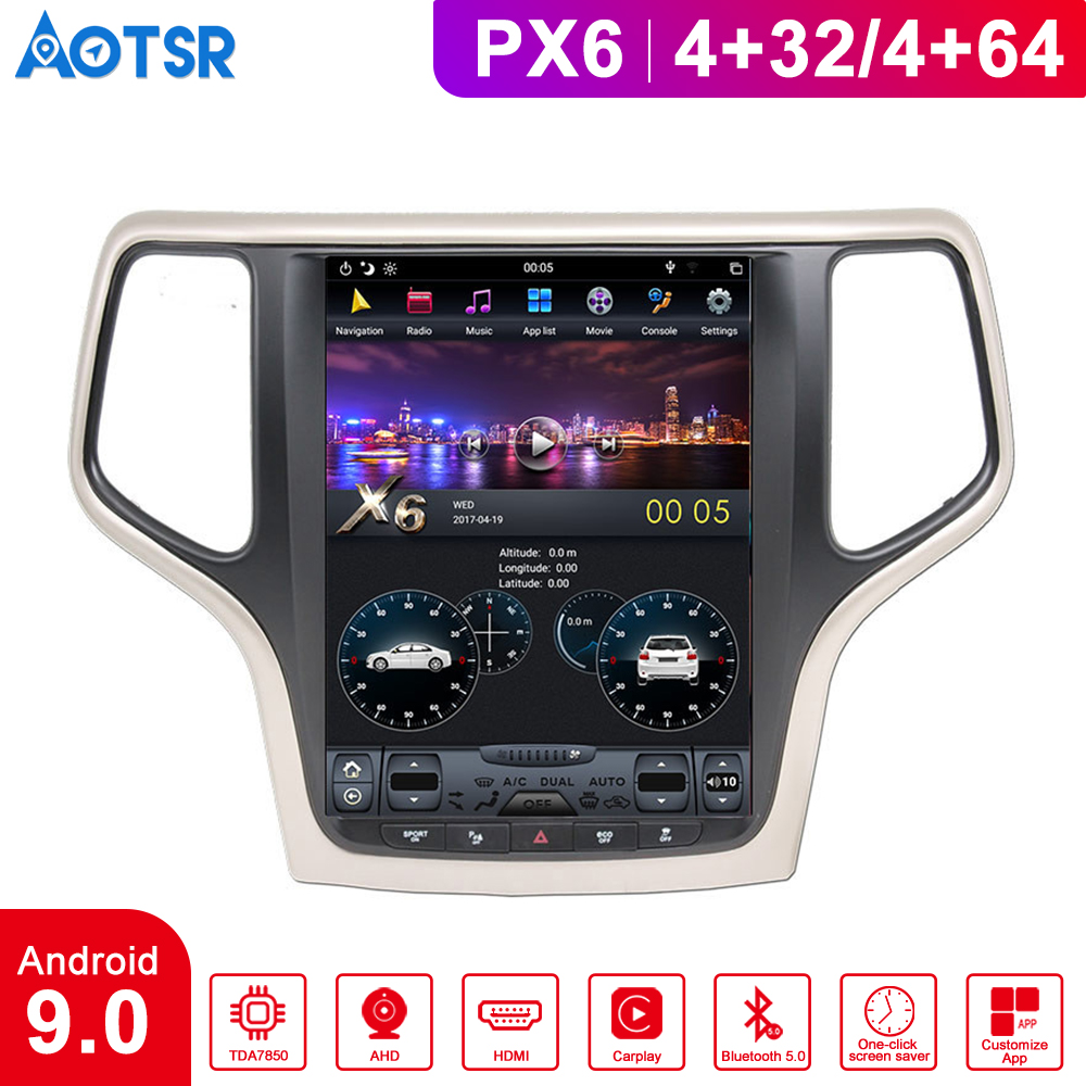 Android 9.0 Vertical screen Car GPS Navigation For JEEP Grand Cherokee 2010-2019 Multimedia Player radio DSP tape recorder head image