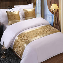 RAYUAN Golden Floral Bedspreads Bed Runner Throw Bedding Single Queen King Bed Cover Towel Home Hotel Decorations(China)