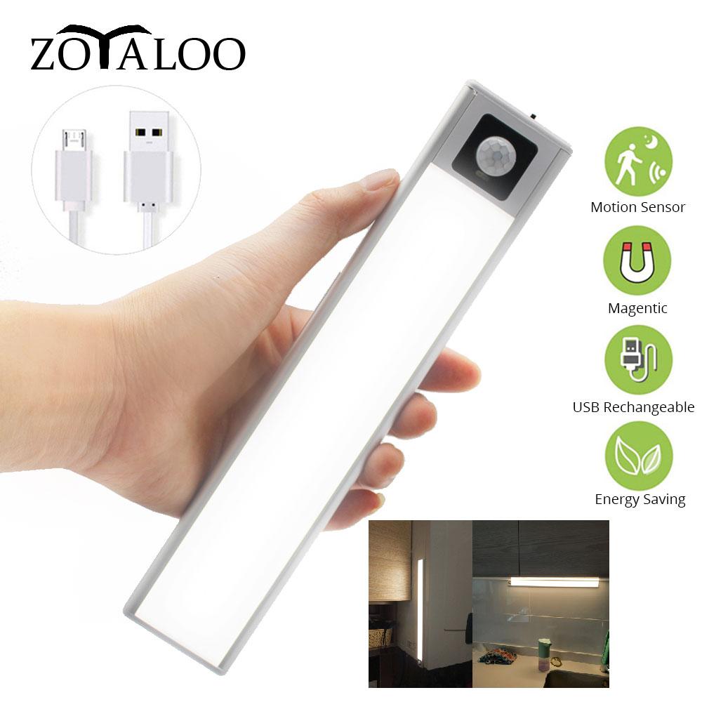 Ultra-thin LEDs PIR Motion Sensor Wardrobe Under Cabinet Light Aluminum Cupboard lamp Night light With Magnetic For Kitchen
