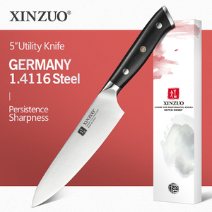 """Image 1 - XINZUO 5"""" inch Utility Knife GERMAN 1.4116 Steel Best Kitchen Knife New Parer Fruit Knife with Ebony Handle Kitchen Accessories"""