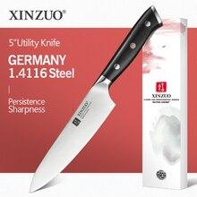 XINZUO cuchillo de utilidad de 5 pulgadas, acero alemán 1,4116, el mejor cuchillo de cocina, nuevo Parer, cuchillo de fruta con mango de ébano, accesorios de cocina