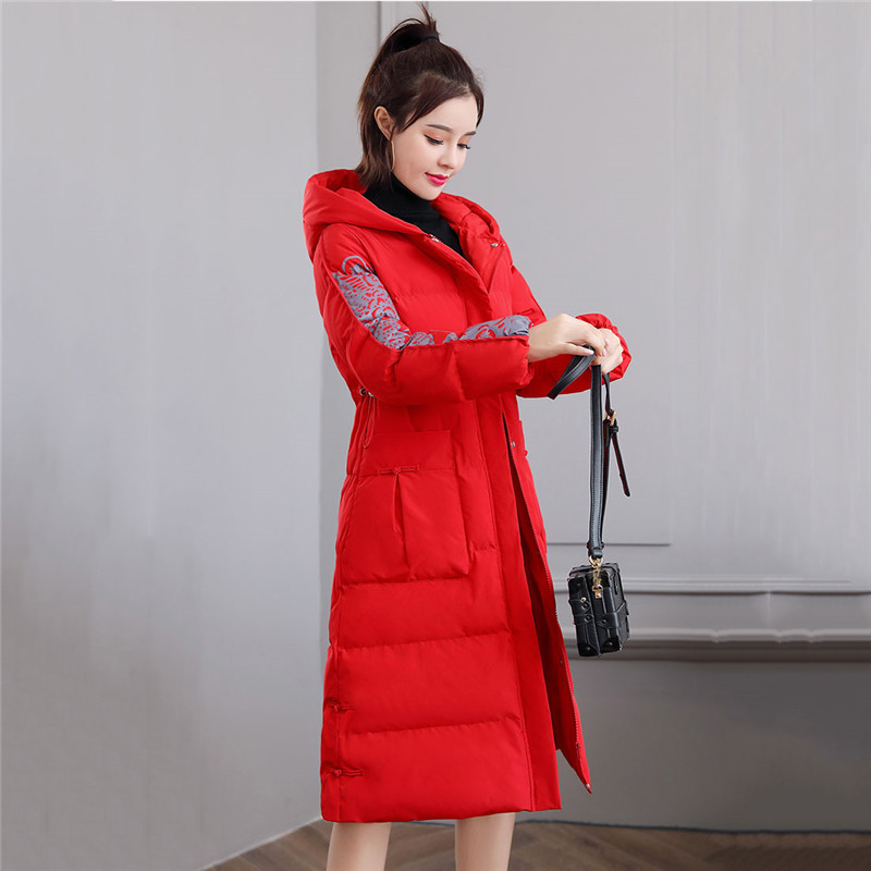 Retro Slim Down Cotton Women 2019 Autumn And Winter New Medium In Long Jacket Wild Casual Popular Hong Kong Style Cotton Coat568 - 5
