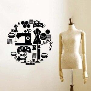 Виниловые настенные наклейки AC384, инструменты для шитья, украшения портновского магазина, ножницы, подставка для одежды, наклейка на стену, ...