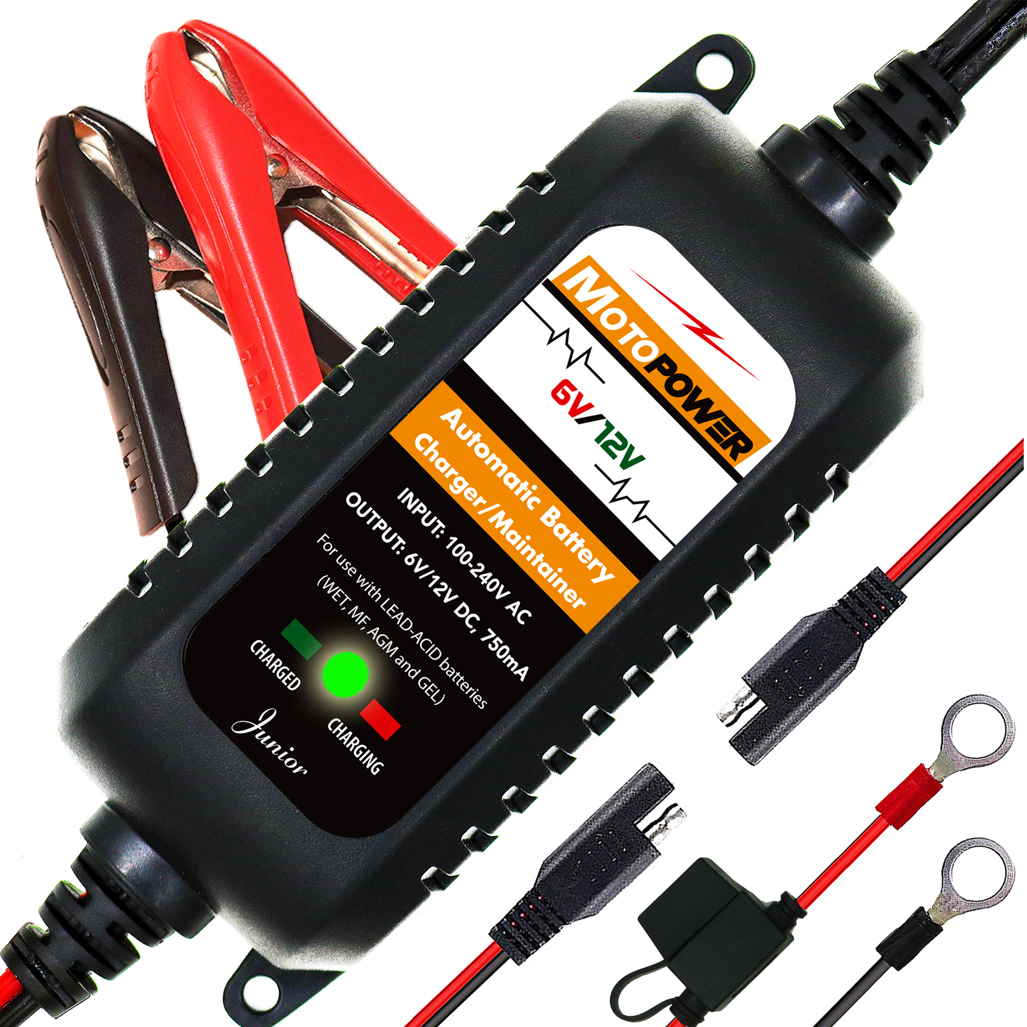 MOTOPOWER 6V 12V 750mA Fully Automatic Smart Battery Charger Maintainer for Car Motorcycle all types of lead acid batteries