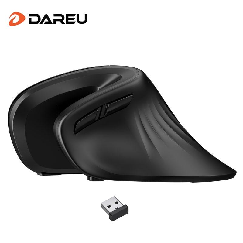 DAREU эргономичная Вертикальная беспроводная мышь 2,4 ГГц оптическая кожа 6 кнопок удобные игровые мыши с регулируемым DPI для компьютера
