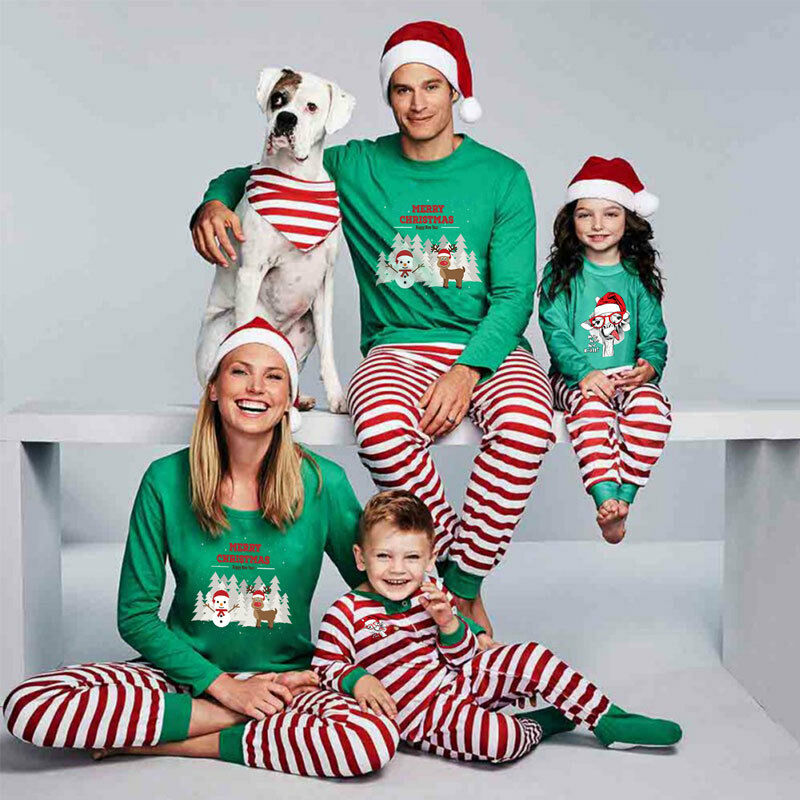 New Festival Family Matching Kids Mom Dad Son Christmas Pajamas Sets Striped Cartoon Print Xmas Cute Sleepwear Nightwear Clothes