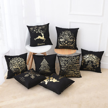 New Christmas pillowcase black linen hot gold bedroom sofa cushion cover